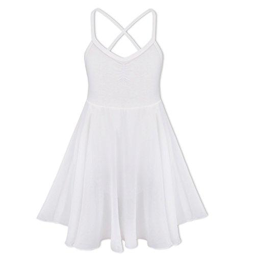 Tiaobug Kinder Mädchen Ballettkleid Ballettanzug Ballett Trikot Kleid mit Chiffon Rock in Weiß Schwarz Rosa Lavender Weiß 128-140
