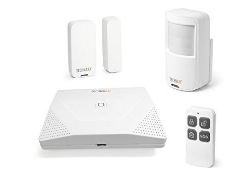 Technaxx WiFi Smart Alarmanlage Starter-Kit TX-84 Einbruchschutz für Haus Erweiterbares Alarmanlagen-Set inkl. Basisstation, Smartphone App, Funk-Bewegungsmelder,- Tür-/Fensterkontakt,-Fernbedienung - Tx Wifi