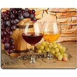 Luxlady Gaming Mousepad Image ID: 24717493composizione del vino e UVA su barile di legno sul tavolo su sfondo muro di mattoni