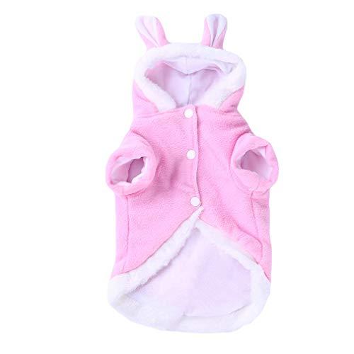 Fliyeong Niedlichen Kaninchen Kleidung Haustier Plüsch Outfit Kostüm für kleine Hunde Katzen Frühling Winter Overall Mantel, rosa S langlebig und praktisch
