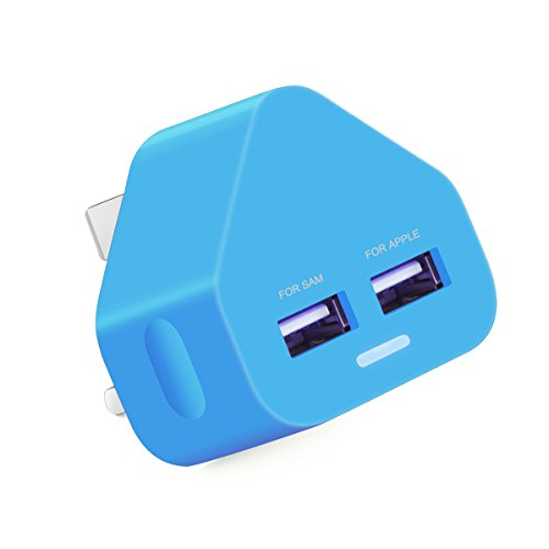 Ameego Dual 2AMP/2000mAh Rapid Double Speed Universal USB Charger With Smart IC UK Plug For iPhone / iPad / iPod / Samsung Galaxy Tab / HTC / Windows Phone / Tablet & USB Socket Devices - Blue