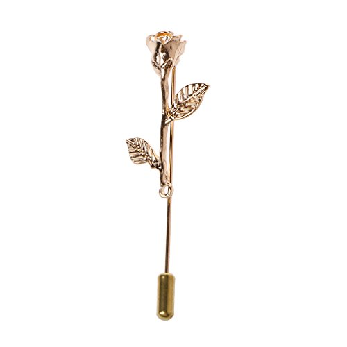 Amarzk Classic Golden 3D Rose Blume Revers Pins Stick Broschen für Anzug Frauen Schmuck-Gold