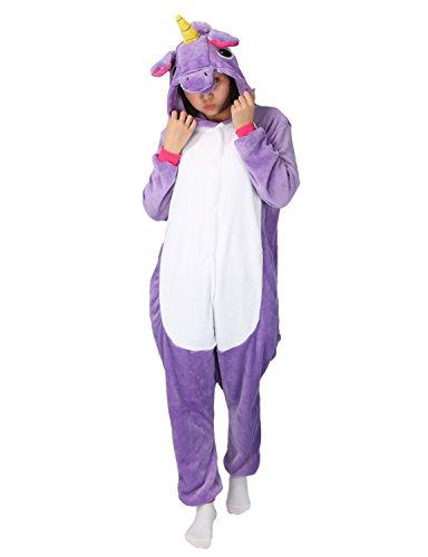 (Einhorn Kostüm Pyjama Jumpsuit Cosplay Schalfanzug Festliche Anzug Flanell Tierkostüm Kartonkostüm Tierschalfanzug(M,lila) - Mescara)