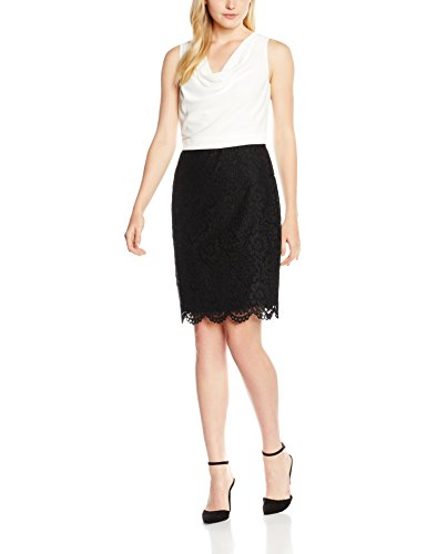 ESPRIT Collection Damen Kleid 056EO1E026-Schmeichelnder Wasserfall-Ausschnitt, Weiß (Off White...