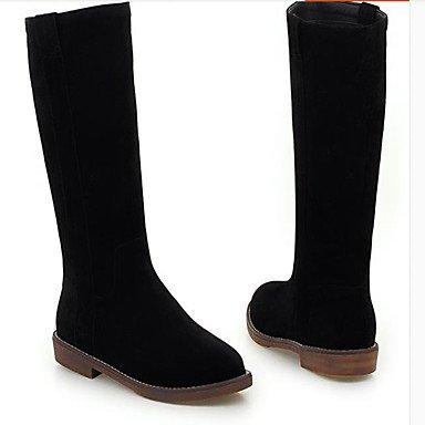 Femmes Chaussures Pu (polyuréthane) Automne Hiver Confortable Plat Cheville Bottes Bout Rond Pour Casual Noir Beige Marron Noir