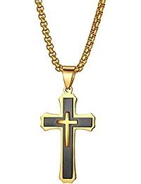 93dea898a5d0 JewelryWe Joyas – Collar de Hombre de Acero Inoxidable Colgante Colgante  Cruz Color Plata Dorado