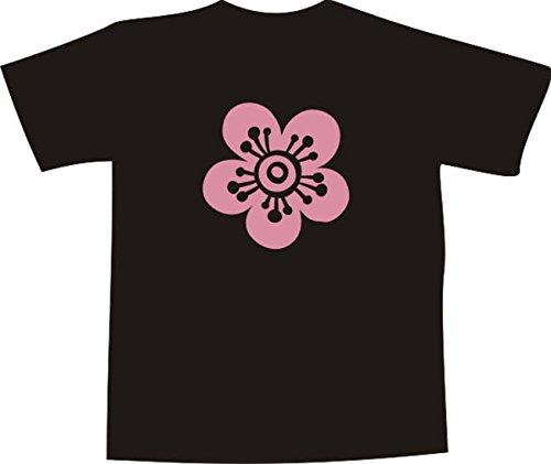 T-Shirt E168 Schönes T-Shirt mit farbigem Brustaufdruck - Logo / Grafik - minimalistisches Motiv - eine große Blüte Mehrfarbig