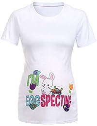 Berimaterry Damen Kurzarm Mode Briefdruck Ostern Shirt Tops Casual Rundhals T-Shirt Longshirt Sommer Lose Tunika Bluse Basic Gro/ße Gr/ö/ßen Sommershirts