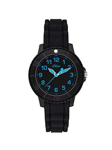 s.Oliver Jungen Analog Quarz Uhr mit Silikon Armband SO-3917-PQ