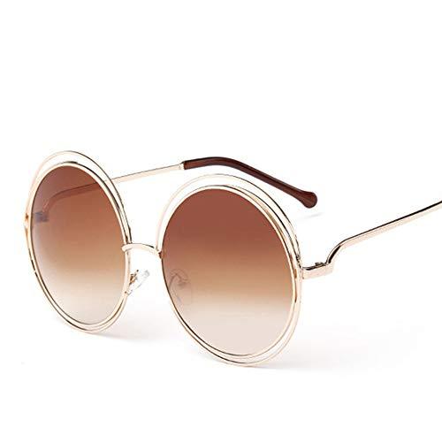 Vintage Sonnenbrille Rundem Hippie Metallrahmen Steampunk Style für Frauen und Männer, Braun