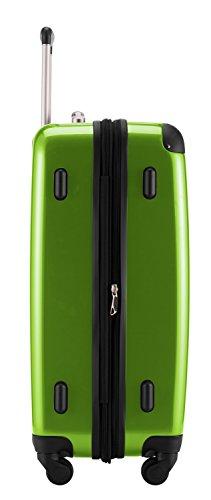 HAUPTSTADTKOFFER® 2er Hartschalen Kofferset · 2x Koffer 74 Liter (63 x 42 x 28 cm) · Hochglanz · Zahlenschloss · SCHWARZ Apfelgrün