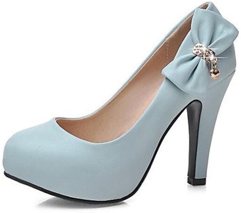 RTRY Sandalias Mujer Primavera Pu Confort Confort Informal Rubor Rosa Azul Blanco Azul Plana Us7.5 / Ue38 / Uk5.5...