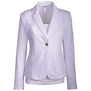 Auliné Collection Womens Office Work One Button Closure Long Sleeves Knit Blazer - White - S