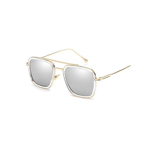 Sportbrillen, Angeln Golfbrille,Sunglasses Men Vintage Brand Designer Coating Sun Glasses Women Retro Double Beam Glasses Shades UV400 GoldSilver