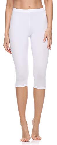 Merry Style Legging 3/4 Tenue Sport Femme MS10-199 (Blanc, XS)