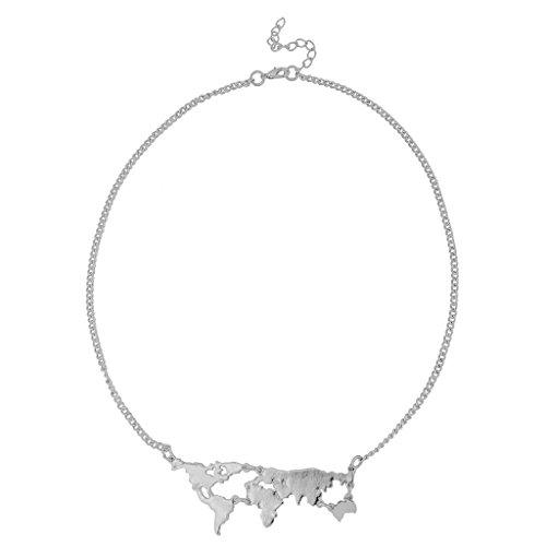 Generic Collana Mappa Del Mondo Gioielli Alla Moda Collare Ciondolo - argento