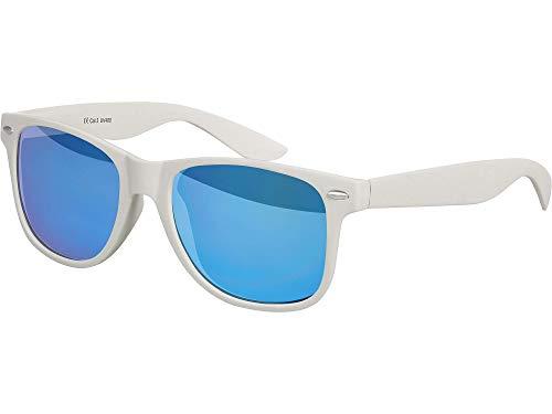Balinco Hochwertige Nerd Sonnenbrille Rubber im Wayfarer Stil Retro Vintage Unisex Brille mit Federscharnier - 96 verschiedene Farben/Modelle wählbar (Hellgrau - Blau verspiegelt)