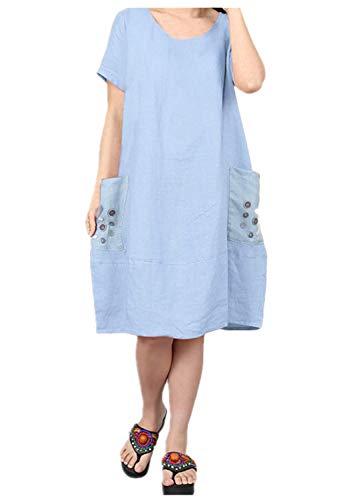 Yvelands Damen T-Shirt Kleid Gaze Knopf Große Tasche Oansatz Kurzarm Baumwolle ()