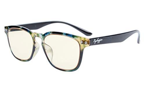 Eyekepper Vintage Flex leichte Kunststoffrahmen Computer Brille Leser Brillen (grüne Schildpatt, Gelb getönte Linsen)+2.25