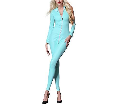 ADFHGFJ Frauen Sexy Unterwäsche Wet Look Unsichtbarer Reißverschluss Geöffneter Gabelung Catsuit Lackleder Body Suit Jumpsuit Clubwear Kostüme, Blau (Body Suit Kostüme)