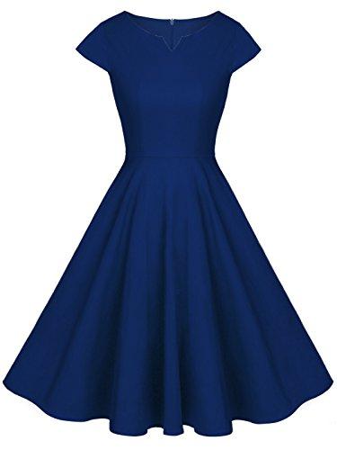 FAIRY COUPLE 1950S Retro Rockabilly Tupfen Kappen Hülsen Abschlussball Kleid DRT019(M,Navy blau) -