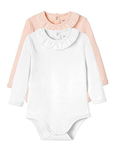 VERTBAUDET Lote de 2 bodies para bebé niña con volante en el cuello Lote Rosa 9M