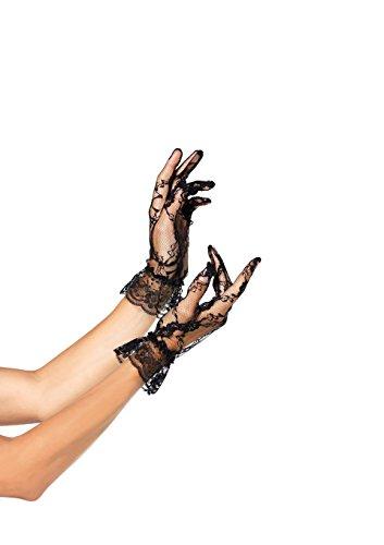 -Handschuhe in Handgelenklänge mit Rüsche. - Schwarz - One Size - G1260 (Spitze Kostüme Handschuhe)