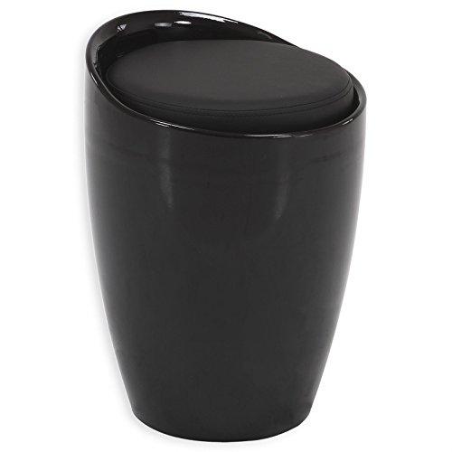 Sitzhocker Arbeitshocker Badhocker Badschemel Stauraumhocker DANIEL, mit Stauraum und Sitzkissen in schwarz