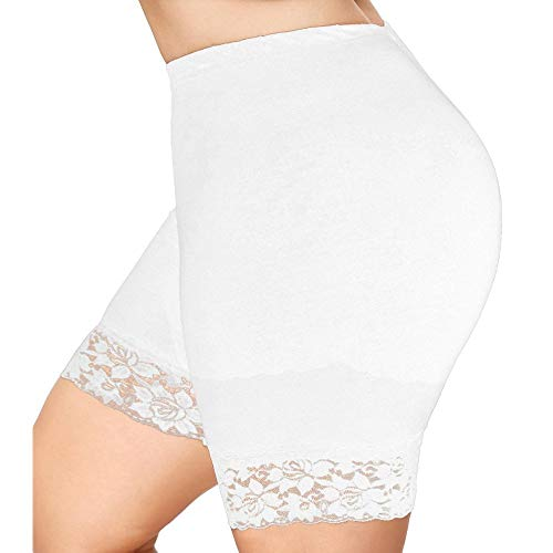 Missoul Women Sexy Plus Size Mid Waist Lace Hot Shorts Elastic Sports Pants Trousers Trunks Ultra Thin Stretch Boxer Short Leggings Cotton Crotch Knickers Summer Winter Safety Under Pants (White) (Outfit Naughty Cop)