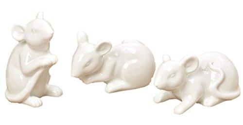 3er Set Maus Figuren bis 8,5cm groß aus Porzellan in Weiß