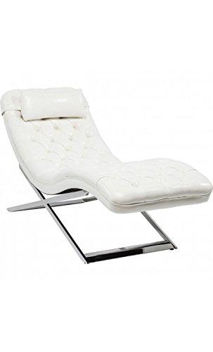 Kare Design - Chaise Longue capitonnée Blanc Chrome Talk About