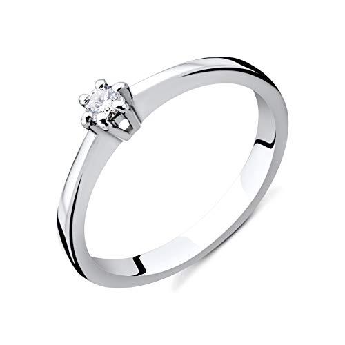 Orovi Damen Diamant Ring Weißgold, Verlobungsring 14 Karat (585) Gold und Diamant Brillanten 0.08 Ct, Solitärring Ring Handgemacht in Italien