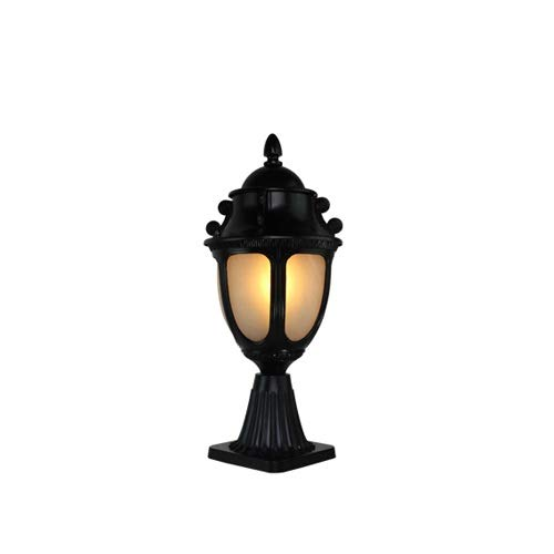 Pumnple 1-Licht traditionelle Außen-Post Leuchte aus Aluminiumguss Säule Pole Mount Lampe mit schwarzer Lackierung Außen Haus Deck Garten Hof Veranda Einfahrt Straßenlaterne 22 *   47cm -