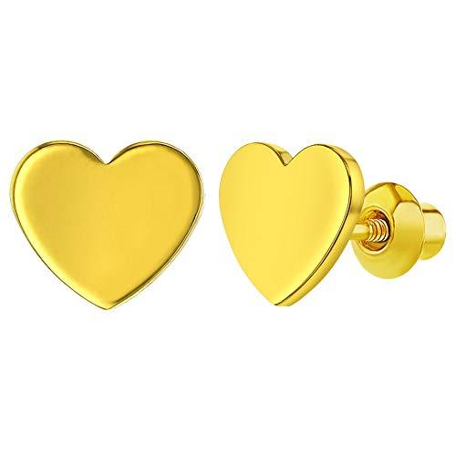 In Season Jewelry Baby Kinder Säuglings - Schraubverschluss Ohrringe Einfaches Herz 18k Vergoldet