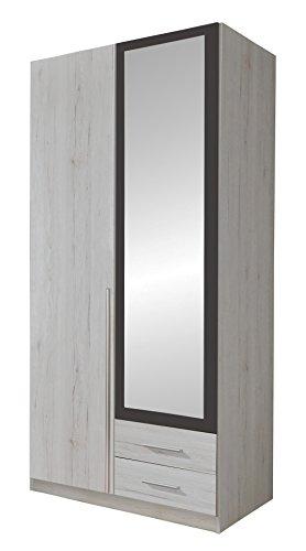 Wimex 245210 Drehtürenschrank, Holz, weißeiche/lavafarbig, 58 x 90 x 198 cm
