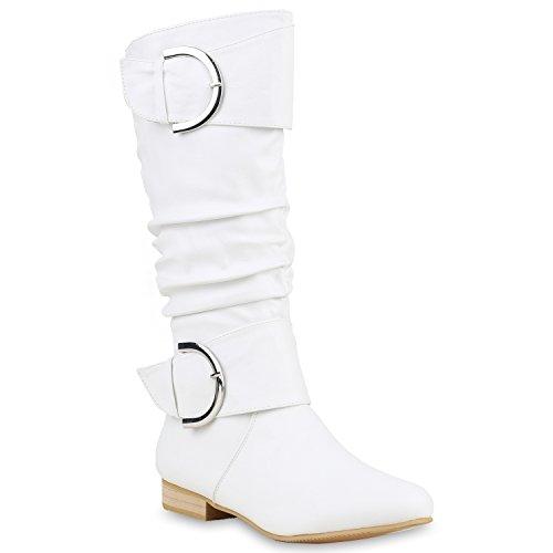 Klassische Damen Stiefel Langschaftstiefel Velours Schnallen Blockabsatz Damenstiefel Schuhe 123355 Weiss 37 Flandell