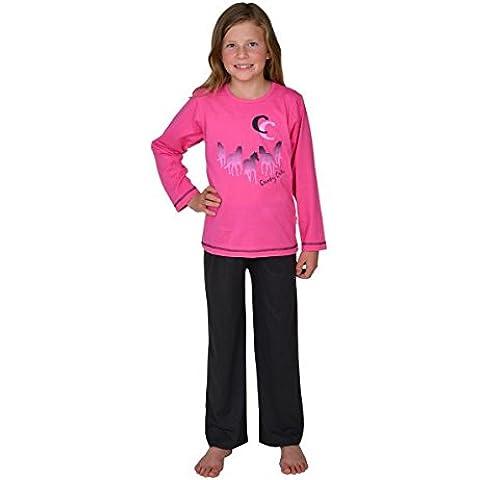 Pijamas largos para chicas 2 piezas Caballos , color rosa,tallas 116-176