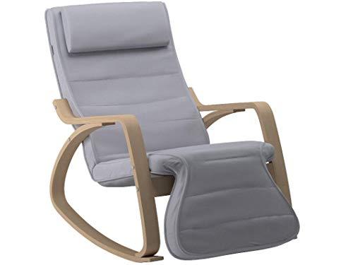 SONGMICS Schaukelstuhl Relaxstuhl 5-Fach Verstellbare Wadenstütze Belastbarkeit 150 kg grau LYY42G, Gris Clair, 67 x 115 x 91 cm