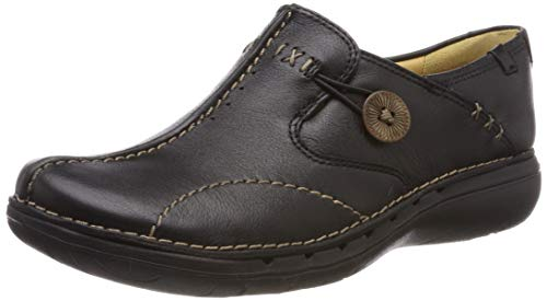 Clarks Un Loop Black Leather 203128374030, Chaussures à lacets femme