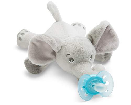 Philips Avent Snuggle Elefant SCF348/13, Kuscheltier mit Schnuller ultra soft, perfektes Geschenk für Neugeborene und Babys, Schnullertier