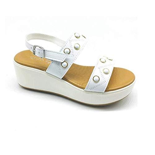 Cinzia Soft Sandali Donna Zeppa IAF62983 001 Pelle Bianco (37 EU)