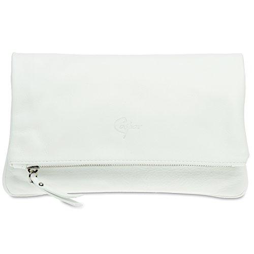 CASPAR TL763 Damen Leder Clutch Tasche Abendtasche aus feinem Nappaleder Weiß