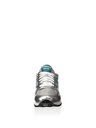 Sneaker Saucony Shadow O' Smu en cuir argenté et nylon gris Argent