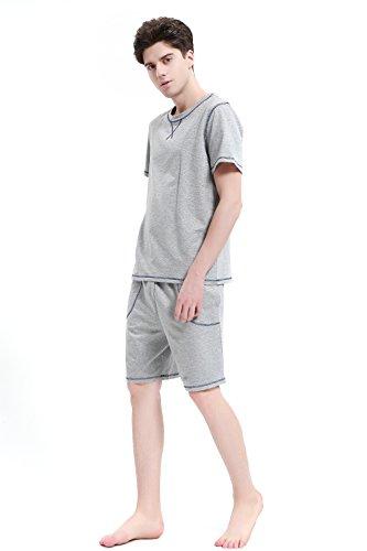 Herren Schlafanzug Pyjama kurz- Suntasty kurz Ärmel Rundhals tshirt &Shorts 010 2016 Shorty 2-teilig Anzug PJ ideal als Homewear oder...