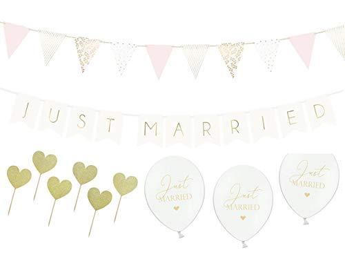 Unbekannt Just Married Partyset zur Hochzeit - Girlanden Luftballons Zubehör