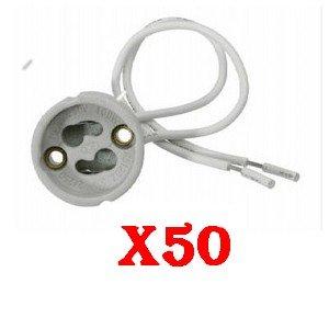 LOT 50 DOUILLE GU10 POUR AMPOULE SPOT LED HALOGENE ECONOMIQUE. NORME CE. LIVRAISON RAPIDE EN SUIVI.