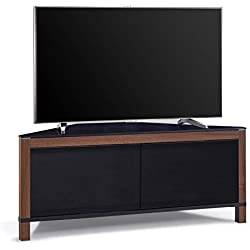 MDA Designs Volans Meuble TV Faisceau Thru Verre Noyer/noir réversible Panneau LCD/Plasma/LED 2portes Meuble TV d'angle