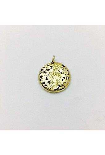 Medalla Virgen Caridad Plata Chapada en Oro 20mm Medallas De Plata