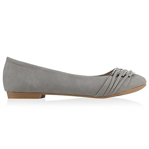 Klassische Damen Strass Ballerinas Elegante Slipper Übergrößen Metallic Glitzer Flats Schuhe 135356 Hellgrau 37 Flandell -