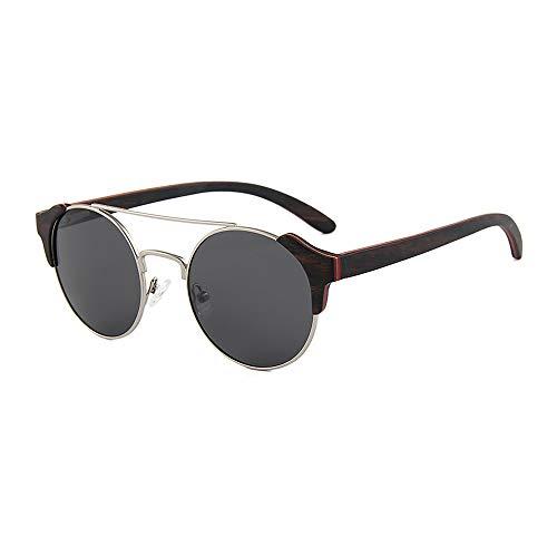 Zbertx Herren Damen Retro Round Wood Sonnenbrillen Polarized Lens,Gray